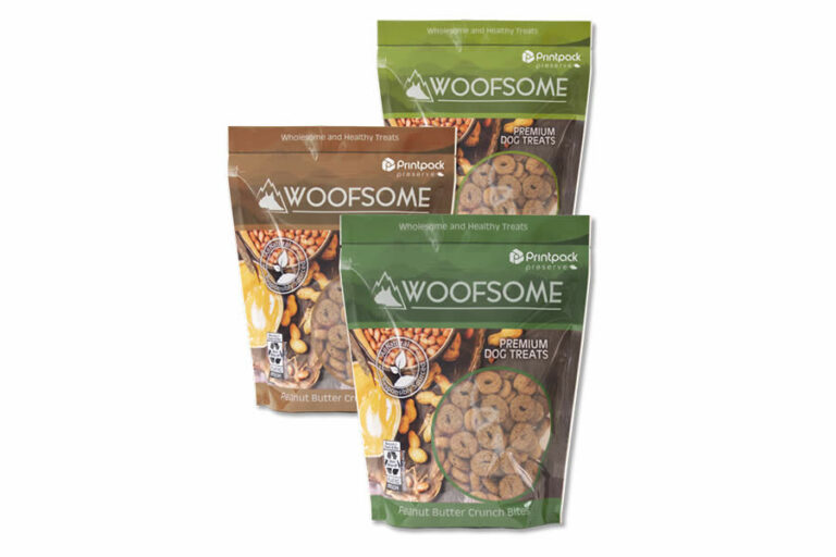 three bags of Woofsome dog treats by Printpack Preserve