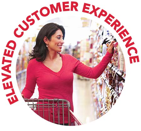 Elevated customer experience icon featuring a woman in red shirt shopping