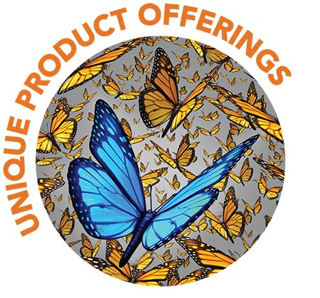 Unique product offerings logo featuring a blue butterfly set against a field of Monarch butterflies