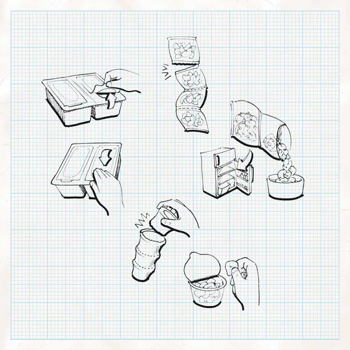 various packaging illustrations