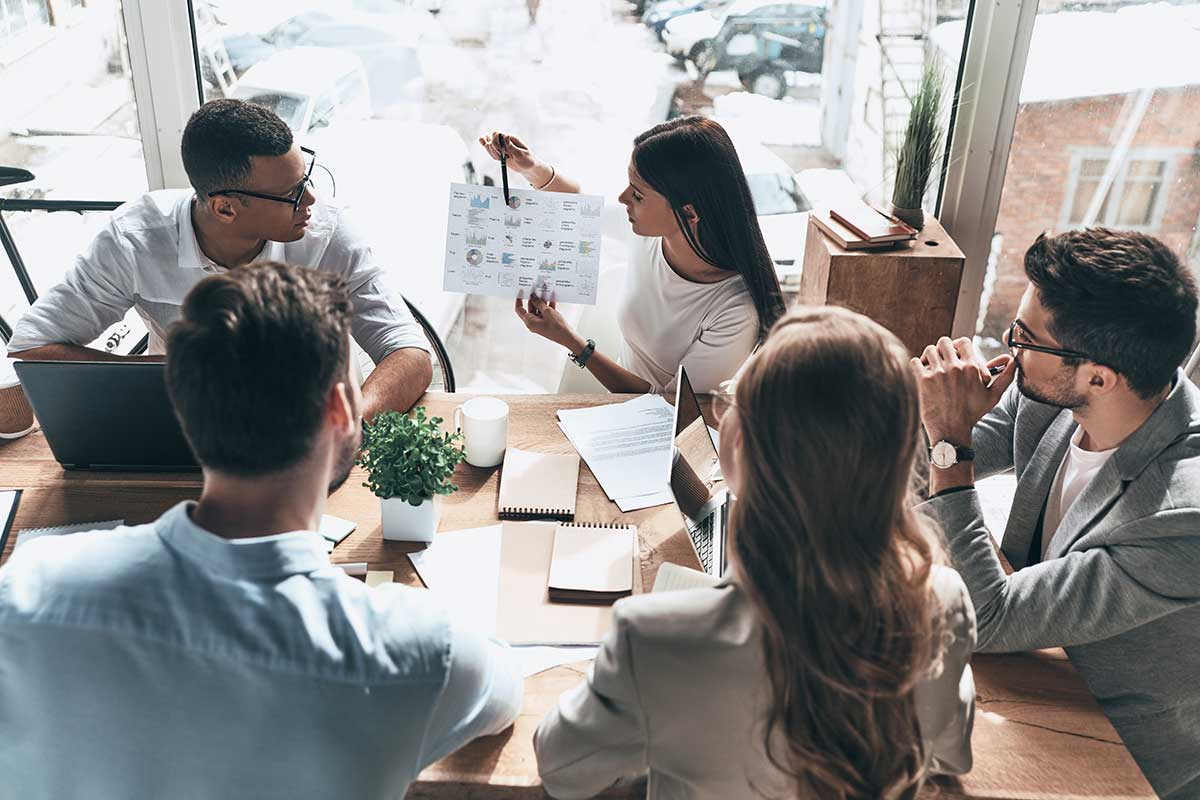 group of coworkers collaborating in a meeting