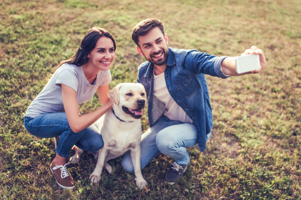 Couple and Dog Selfie